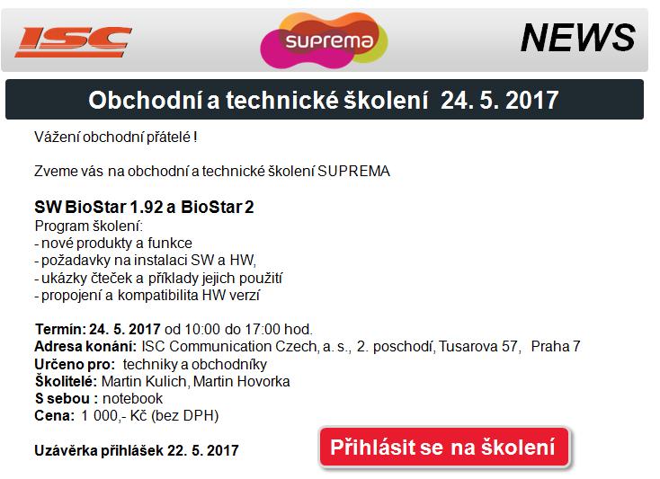 Suprema: Obchodní a technické školení 24. 5. 2017