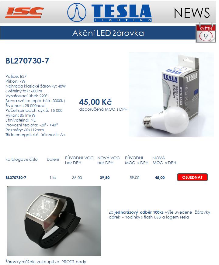 TESLA LIGHTING - nejlevnější LED žárovka se závitem E27 dárek hodinky Tesla s USB
