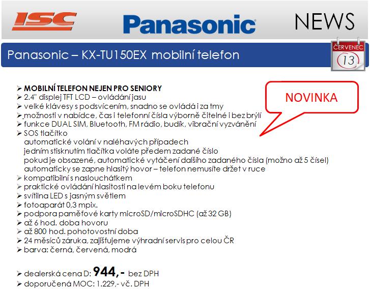 NOVINKA - Panasonic mobilní telefon KX-TU150 nejen pro seniory, již od 944,-kč