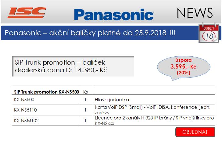 Panasonic ústředny KX-NS500, KX-HTS32 - IP balíčky se slevou 20%