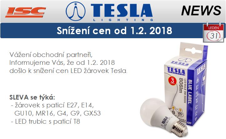 TESLA LIGHTING snížení cen LED zdrojů od 1.2. 2018