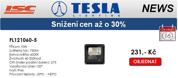 TESLA LIGHTING Snížení cen reflektorů až o 30%