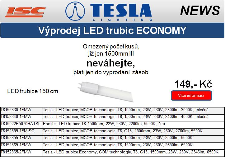 TESLA LIGHTING výprodej LED trubic T8 economy za 149,- Kč