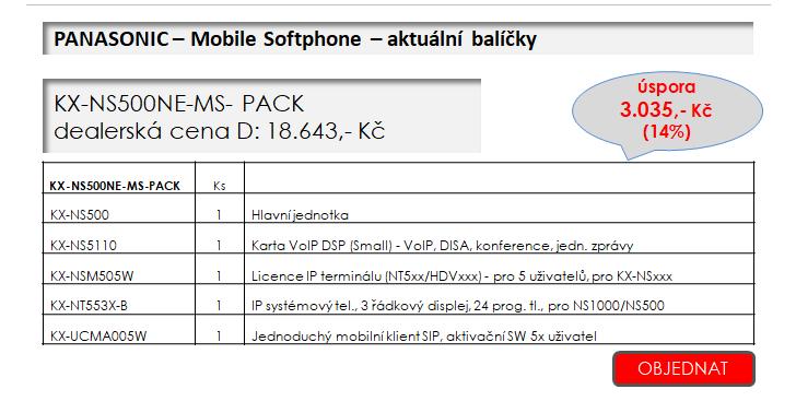 Panasonic Mobile Softphone + akční balíčky platné do 25.3.2018