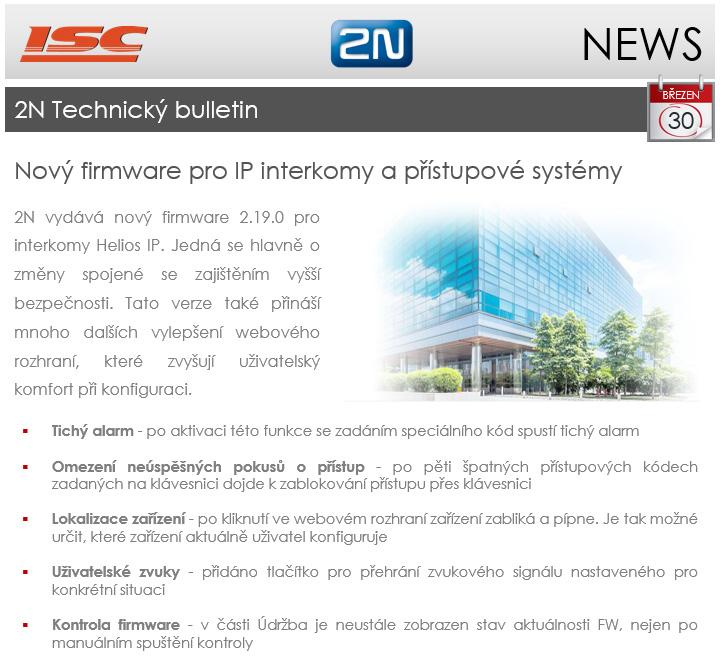 2N: technický bulletin březen 2017, nový firmware 2.19.0 pro IP interkomy a přístupové systémy