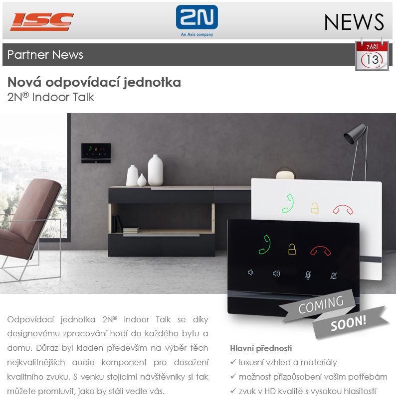 2N: Partner news - září 2018, nová odpovídací jednotka 2N Indoor Talk již brzy v prodeji