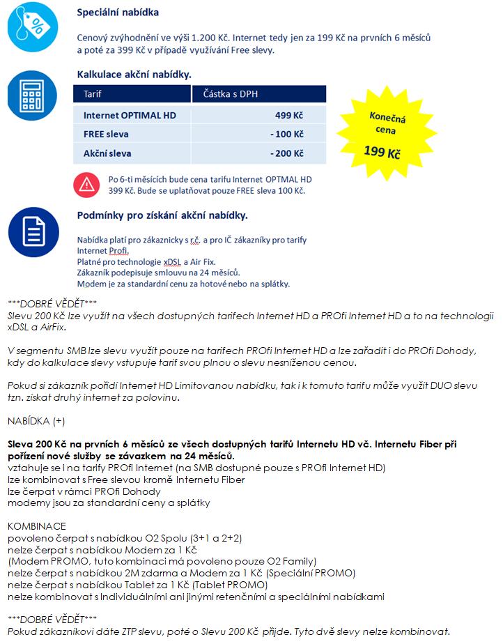 O2 Internet HD - cena od 349,- kč měsíčně + provize od 1300,-