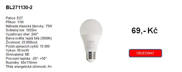 TESLA LIGHTING nové modely žárovek nahrazující klasické žárovky 75W a 100W